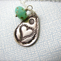 Artisan Handcrafted Teardrop Pendant With Wire Wrapped Aqua Picasso Bead .999 Silver PMC Necklace. OOAK Precious Metal Clay Necklace