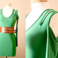 Bodycon, Cocktail, Statement, Dress, With Cut-Out Sleeves in Emerald (S, M, L)