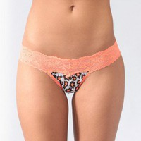 Leopard Mesh &amp; Lace Thong