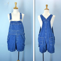Vintage Overall Shorts / 1980s Denim Bib Overalls / medium