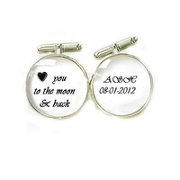 Men Initial Cufflinks Personalized Cuff links with Date wedding birthday