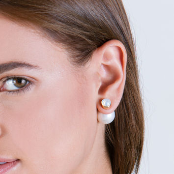 Flip It Faux Jewel 'N Faux Pearl Earrings