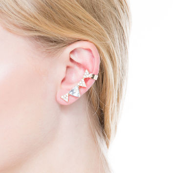 Glitzy Triangulated Cuff Earrings