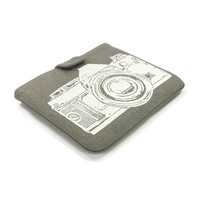 IPad case - White vintage camera print on grey denim for iPad 2 and 3 - Urban padded Ipad sleeve