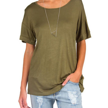 Simple Loose Short Sleeve Top - Olive - Olive /