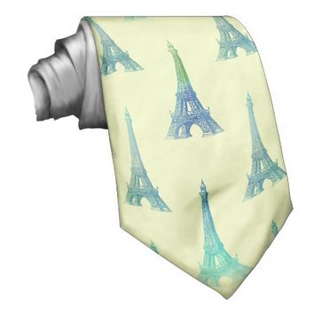 Paris Eiffel Tower Blue Yellow Tie