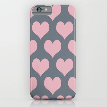 Hearts of Love Coral Pink Gray iPhone & iPod Case by BeautifulHomes