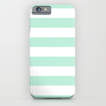 Stripe Horizontal Mint Green iPhone & iPod Case by BeautifulHomes
