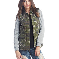 Knit Sleeves Camo Anorak Jacket   Wet Seal