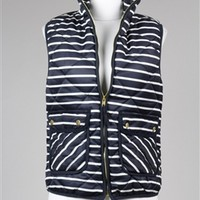 J Crew Inspired Striped Puffer Vest