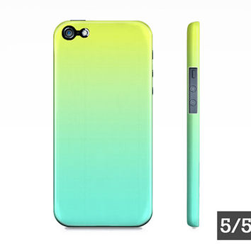 Lime Green & Turquoise Ombre - Premium Slim Fit iPhone 5 5S 4 4S Case - Also Available For Samsung Galaxy S5 S4 S3