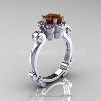 Art Masters Caravaggio 14K White Gold 1.0 Ct Brown and White  Diamond Engagement Ring R606-14KWGDBRD