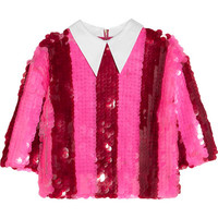 House of Holland - Striped paillette-embellished tulle top