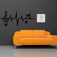 Music note heartbeat pulse wall decal, wall sticker, home decor, wall graphic, decal, vinyl decal, vinyl graphic decal, wall art