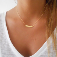Delicate Gold Bar Necklace; Dainty Gold Filled Necklace; Layering Gold Necklace