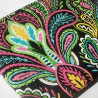 Multicolor Paisley ID Case- zippered pouch keychain or wristlet