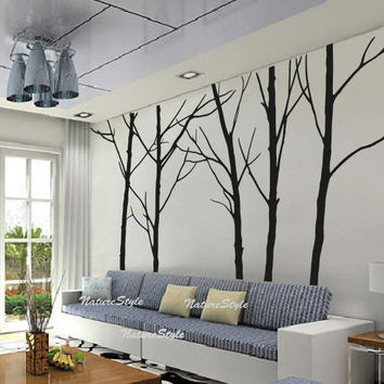 Five Winter Trees Vinyl Wall DecalStickerNature by NatureStyle