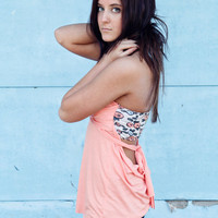 Versatile Summer Shirt in Peach with floral bandeau. Wear strapless or as a halter.