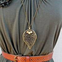 Long Bronze Leaf Necklace