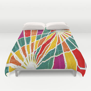 Multicolored Vibrations Abstract Art Duvet Cover by Danflcreativo