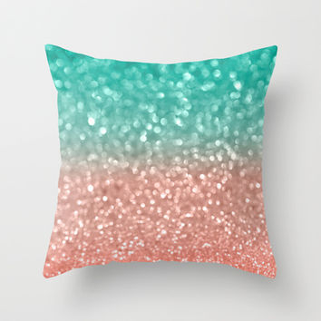 Coral Meets Sea Throw Pillow by Lisa Argyropoulos