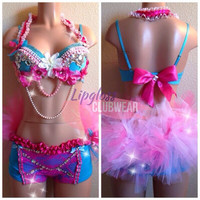 Barbie Inspired Rhinestone Gem Rave Top and Bottom with bow tie , Costume 4 EDC, Electric Daisy Carnival, Ultra, EDM FestivalsTomorrowland