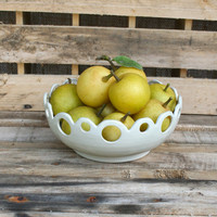 Stoneware Pottery Fruit Bowl - Lace Bowl