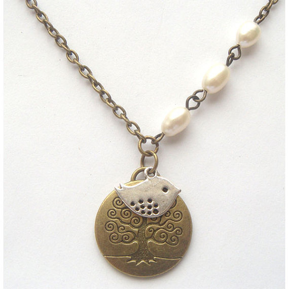 Antiqued Brass Tree Bird Pearl Necklace