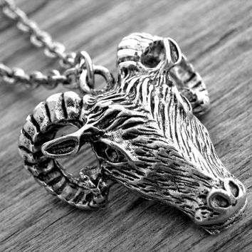 Ram Head Necklace Goat Head Necklace Gothic Goth Aries Occult Witch Craft Witchcraft Satanic Silver Ram Head Jewelry Baphomet Goat's Head