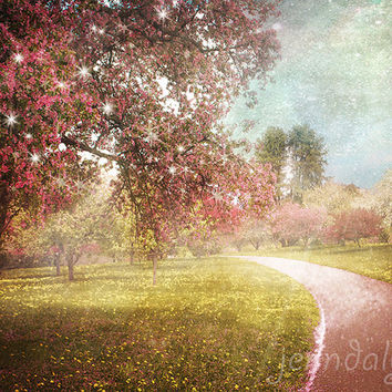 spring landscape photography, fairy tale wall art, baby girl nursery decor, pink tree photography, magical girls room decor