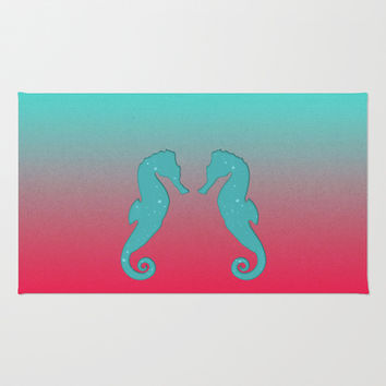 Aqua seahorses Area & Throw Rug by eDrawings38 | Society6