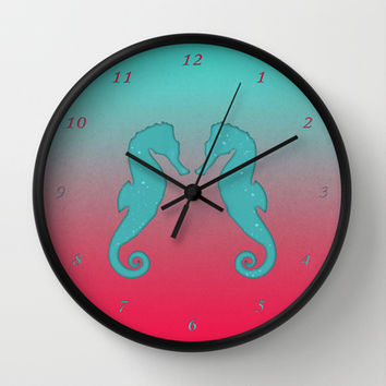 Aqua seahorses Wall Clock by eDrawings38 | Society6