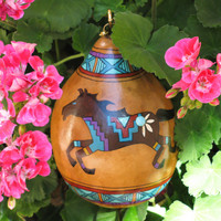 Southwestern Hand-painted Gourd with Stand #953 Horse