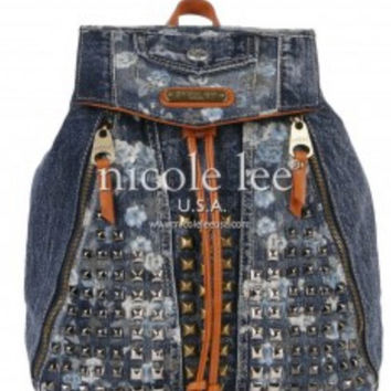 Nicole Lee Floral Studded Denim Backpack