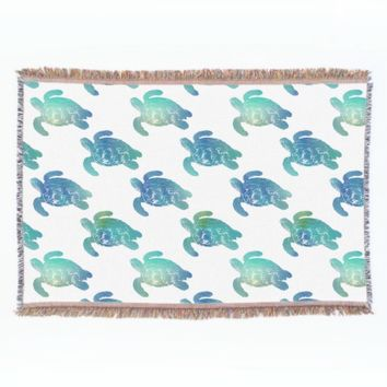 Sea Turtle Blue Green Throw Blanket