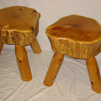 Rustic White Cedar Log Stool with Exterior Finish