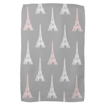 Paris Eiffel Tower White Pink Gray Kitchen Towel