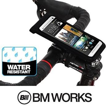 BM WORKS Slim3 R Water Resistant Smartphone Bike Mount Large Size - Bicycle Phone Case Holder for iPhone 6+, 6, 5S, 5C, 5, 4S, 4, Samsung Galaxy S5, S4, Note 4, 3, 2, Nexus 5, 4, HTC Desire Eye, One (M8), Desire 820, Desire 816, One Mini, Desire 320, Desir