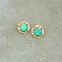 Faceted Seafoam Earrings [6105] - $9.00 : Vintage Inspired Clothing & Affordable Dresses, deloom | Modern. Vintage. Crafted.
