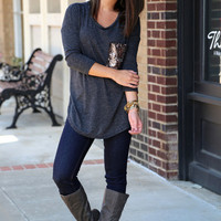 Sequin Pocket Knit {Charcoal}