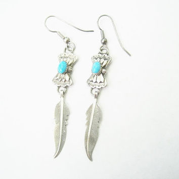 Vintage Turquoise Feather Earrings Navajo Sterling
