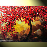 """Original Abstract Red Tree of Life Palette Knife Painting, Abstract Textured Painting, Red Autumn Floral, Brown Gold, 36x24"""" -Christine"""