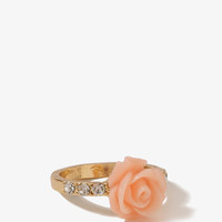 Rhinestoned Rosette Ring