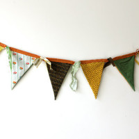 Fabric Bunting - Banner, Reversible, Summer Home Decor, Party Decoration, Vintage fabric