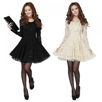 2013 Autumn Women's Long Sleeve Spoon Neck Lace COCKTAIL PARTY Formal MINI Dress