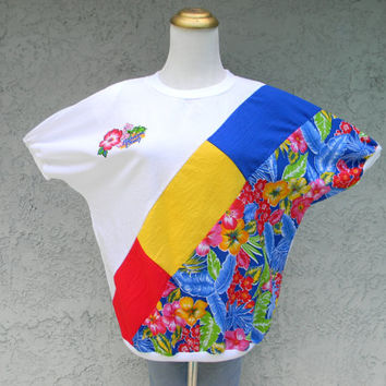 80s Party Outfit - Vintage 80s Blue, White, Red, Yellow Floral Tropical Cruise Shirt - Bahama Beach Blouse - Size L Large