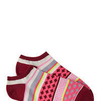 FOREVER 21 Striped Ankle Socks Burgundy/Cream One
