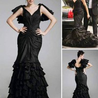 Trumpet/ Mermaid V-neck Floor-length Taffeta Sex and the City / Prom Dress co1113 - Sex and the City - Celebrity Dresses - Special Occasion Dresses  - ClothingTalks Online Shopping