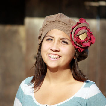 Upcycled Tan with Pink Flower Cotton and Cashmere Hat
