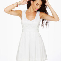 Lovely Sleeveless Dress - White Dress - Party Dress - $74.00